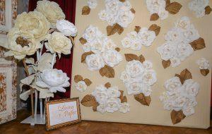 Papír virág irodai-, kirakati-, standdekoráció